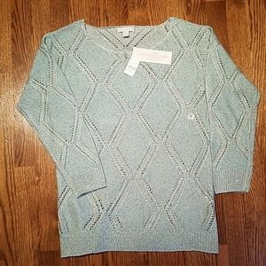 NY&CO aqua and silver sparkle sweater
